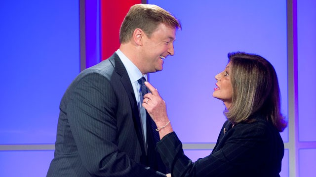PHOTO:&nbsp;In this Oct. 11, 2012, file photo, Nevada Sen. Dean Heller, left, shakes hands with challenger Shelley Berkley, D-Nev. after a televised debate in Las Vegas.