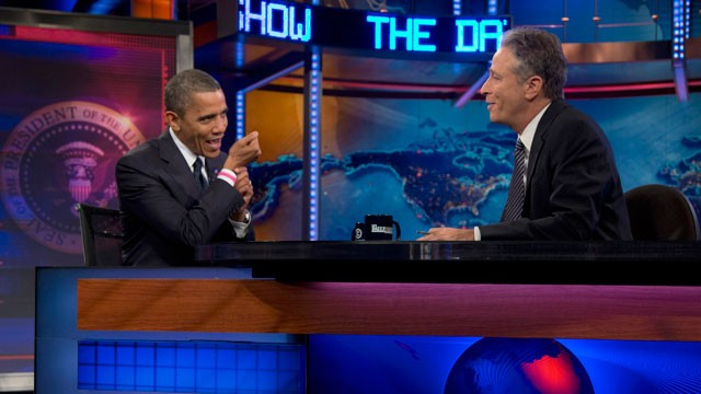 PHOTO: President Barack Obama talks with Jon Stewart during a taping of his appearance on