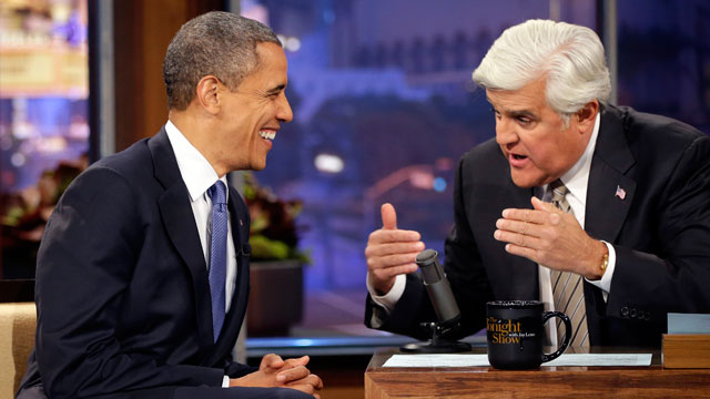 PHOTO: President Barack Obama talks with Jay Leno during the taping of his appearance on NBC?s The Tonight Show with Jay Leno, Wednesday, Oct. 24, 2012, in Burbank, Calif.