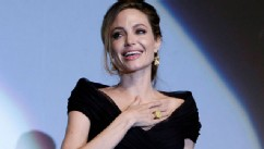 PHOTO:&nbsp;Angelina Jolie addressing the audience after premiere of her movie, &quot;In the Land of Blood and Honey,&quot; in Sarajevo, Bosnia.