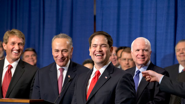 "PHOTO: There are smiles all around as immigration reform legislation is outlined by the Senates bipartisan ""Gang of Eight"", on Capitol Hill in Washington, Thursday, April 18, 2013."