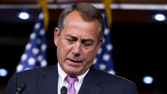 PHOTO: House Speaker John Boehner of Ohio on Capitol Hill in Washington, Thursday, Feb. 28, 2013, answering questions about the impending automatic spending cuts that take effect March 1.