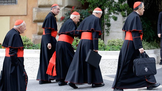 PHOTO:&nbsp;US cardinals arrive for a meeting, at the Vatican, Tuesday, March 5, 2013.