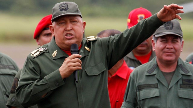PHOTO:&nbsp; Venezuela's President Hugo Chavez speaks to soldiers.