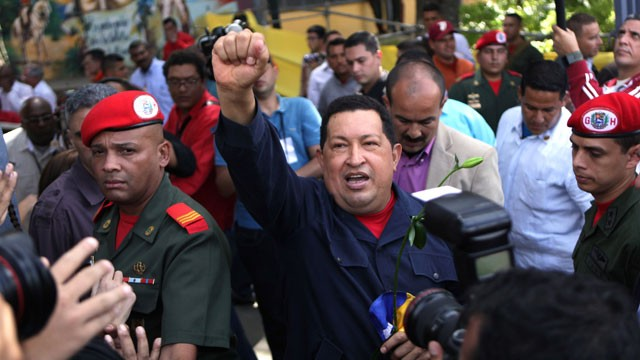 PHOTO: Venezuela's President Hugo Chávez arrives to a polling station during the presidential election in Caracas, Venezuela, Sunday, Oct. 7, 2012. Chávez is running for re-election against opposition candidate Henrique Capriles.