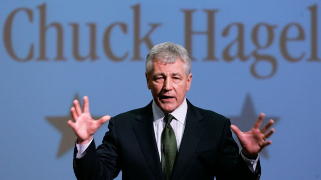 PHOTO: In this Feb. 21, 2007, file photo, then-Sen. Chuck Hagel, R-Neb., speaks during an appearance at Bellevue University, in Bellevue, Neb. President Barack Obama nominated Hagel as his next defense secretary on Monday, Jan. 7, 2013.