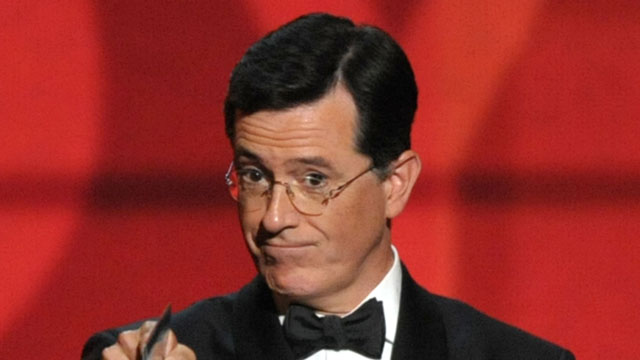 PHOTO:In this Sept. 23, 2012 file photo, Stephen Colbert presents an award onstage at the 64th Primetime Emmy Awards at the Nokia Theatre in Los Angeles.