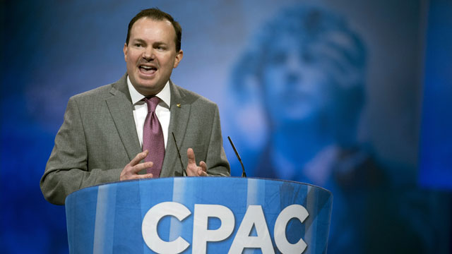 PHOTO: Sen. Mike Lee, R-Utah, speaks after an immigration panel at the 40th annual Conservative Political Action Conference in National Harbor, Md., Thursday, March 14, 2013.