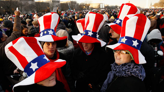PHOTO: President Barack Obama supporters wait on the National Mall in Washington.