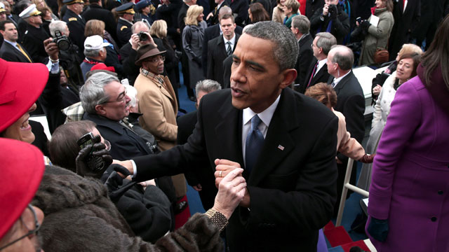 PHOTO: President Barack Obama greets people on the West Front of the Capitol in Washington