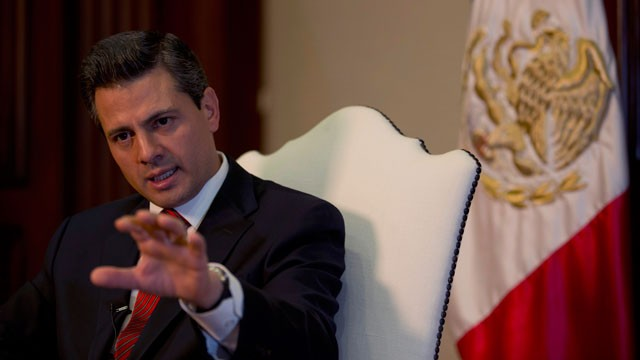 PHOTO: Enrique&nbsp;Pe&ntilde;a&nbsp;Nieto speaks during an interview with The Associated Press at the Los Pinos presidential residence in Mexico City, Monday, Dec. 10, 2012.