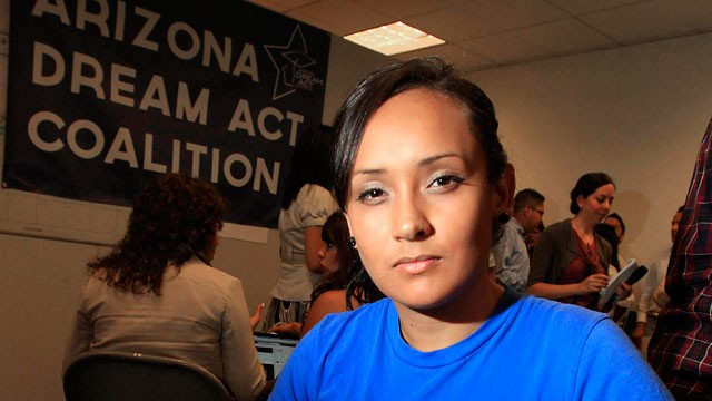 PHOTO: In this Aug. 15, 2012 file photo, young immigrant Erika Andiola, of Mesa, Ariz., poses for a portrait at a site where people line up to get guidance on Deferred Action for Childhood Arrivals in Phoenix, Arizona.
