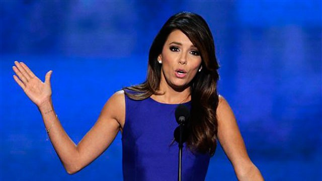 PHOTO:&nbsp;Obama Campaign Co-Chair Eva Longoria addresses the Democratic National Convention in Charlotte, N.C., on Thursday, Sept. 6, 2012.