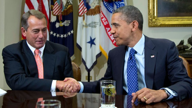 PHOTO: This Nov. 16, 2012 file photo shows President Barack Obama shaking hands with House Speaker John Boehner of Ohio in the Roosevelt Room of the White House in Washington, during a meeting to discuss the deficit and economy.
