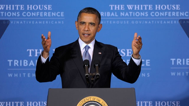 PHOTO:&nbsp;President Barack Obama speaks at the 2012 Tribal Nations Conference, Wednesday, Dec. 5, 2012, in Washington. Tribal leaders are concerned about the possibility of deep spending cuts to avoid the &quot;fiscal cliff.&quot;