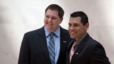 PHOTO: Jason Kirchick, left, and Christian Pinillos, of Vermont, are photographed on Capitol Hill in Washington, Wednesday, April 24, 2013, as they take a break from lobbying.