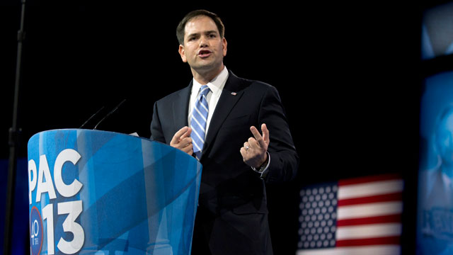 PHOTO: In this March 14, 2013, file photo, Sen. Marco Rubio, R-Fla., speaks at the 40th annual Conservative Political Action Conference in National Harbor, Md.