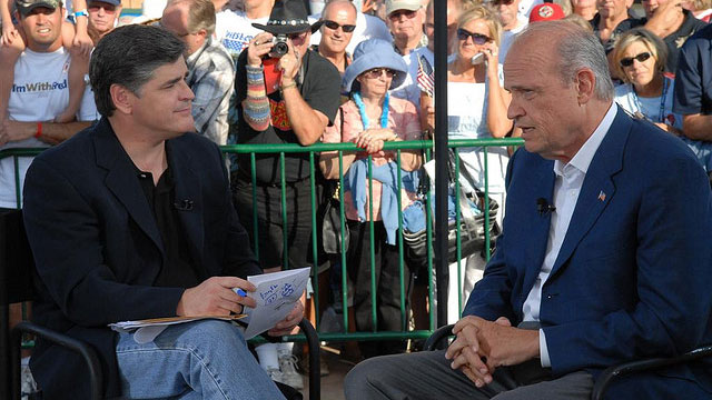 PHOTO:Fox News host Sean Hannity interviews former Republican presidential candidate Fred Thompson on July 26, 2007.