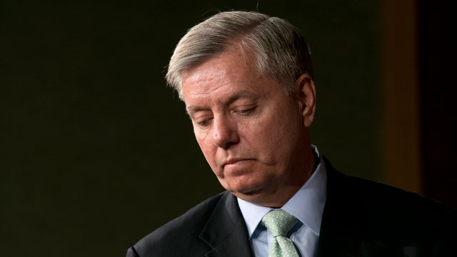 PHOTO: Sen. Lindsey Graham, R-S.C. pauses during a news conference on Capitol Hill In Washington, Thursday, March 7, 2013.