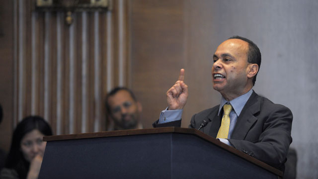 PHOTO:Rep. Luis V. Gutierrez, D-Ill. speaks on Capitol Hill in Washington, Wednesday, March 13, 2013, during a mock hearing on immigration reform following a national bus tour.