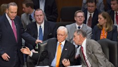 PHOTO:From left, Sen. Chuck Schumer, D-N.Y., standing, Sen. Orrin G. Hatch, R-Utah, and Sen. Chuck Grassley, R-Iowa, confer as the Senate Judiciary Committee meets on immigration reform on Capitol Hill in Washington, Thursday, May 9, 2013.