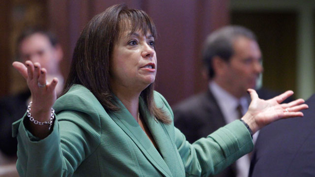 PHOTO: Illinois Sen. Iris Y. Martinez, D-Chicago, supports giving undocumented immigrants drivers licenses on the Senate floor at the Illinois State Capitol Tuesday, Dec. 4, 2012, in Springfield, Illinois.