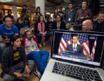 PHOTO:Members of the DREAM Team LA watch President Obama speak about immigration in Los Angeles, Tuesday, Jan. 29, 2013.