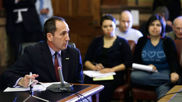 PHOTO: Iowa Department of Transportation Director Paul Trombino speaks during the Legislature's Administrative Rules Review Committee meeting, Wednesday, Jan. 9, 2013, at the Statehouse in Des Moines, Iowa.