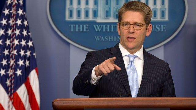 PHOTO:White House Press Secretary Jay Carney calls on a reporter during his daily news briefing at the White House in Washington, Wednesday, Nov. 28, 2012.
