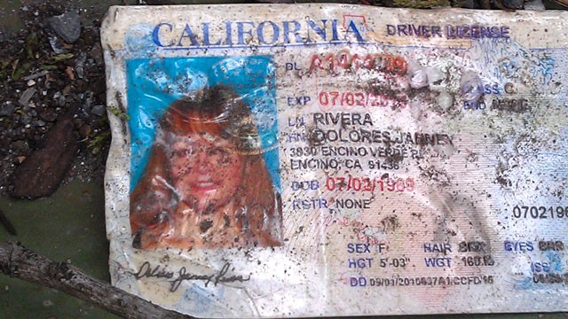 PHOTO: A California driver's license bearing the name of Jenni Rivera sits on the ground at the site where a plane allegedly carrying Rivera crashed near Iturbide, Mexico.