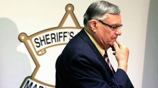 PHOTO:FILE - In this April 3, 2012 file photo, Maricopa County Sheriff Joe Arpaio pauses prior to holding a news conference in Phoenix.