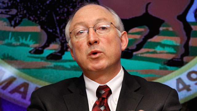 PHOTO: FILE - In this March 9 2009 file photo, Interior Secretary Ken Salazar gestures during an interview with The Associated Press in Washington. Salazar will leave the Obama administration in March, an Obama administration official said Wednesday.