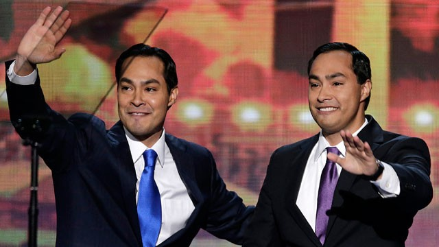 PHOTO: In this Sept. 4, 2012 file photo, San Antonio Mayor Julian Castro and his brother Joaquin Castro, right, wave to the Democratic National Convention in Charlotte, N.C. Republicans have had only halting success recruiting future Latino leaders.