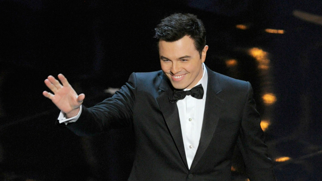 PHOTO: Host Seth MacFarlane speaks onstage during the Oscars at the Dolby Theatre on Sunday Feb. 24, 2013, in Los Angeles.
