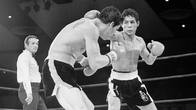 PHOTO: In this July 11, 1982 file photo, Luis Loy Jr., left, ducks under a blow by Hector Camacho early in a scheduled 10-round junior lightweight boxing bout at Felt Forum in New York.