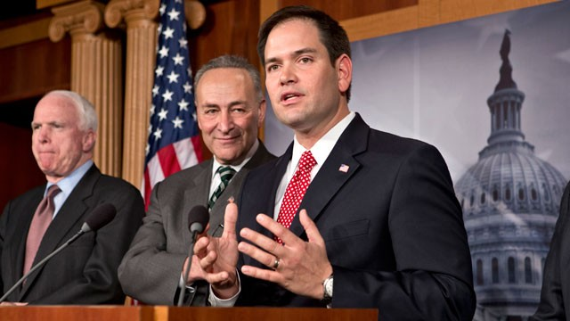 PHOTO: From left are Sen. John McCain, R-Ariz., Sen. Charles Schumer, D-N.Y., and Sen. Marco Rubio, R-Fla. A bipartisan group of senators said that they have reached agreement on the principles of legislation to rewrite the nation's immigration laws.