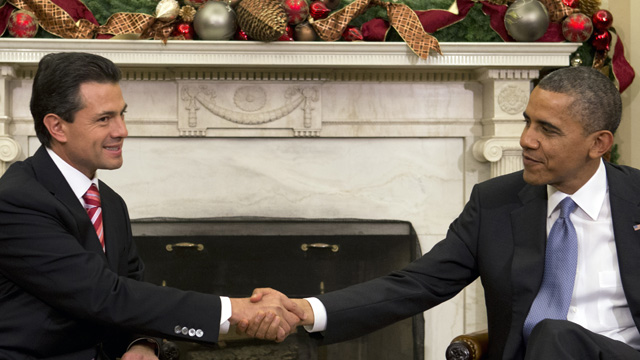 PHOTO: President Barack Obama shakes hands with Mexicos President-elect Enrique Pena Nieto prior to their meeting in the Oval Office of the White House in Washington, Tuesday, Nov. 27, 2012.