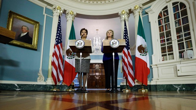 PHOTO:&nbsp;Secretary of State Hillary Rodham Clinton, right, and Mexican Foreign Minister Patricia Espinosa speak in the Treaty Room of the State Department, Tuesday, Sept. 18, 2012, in Washington.