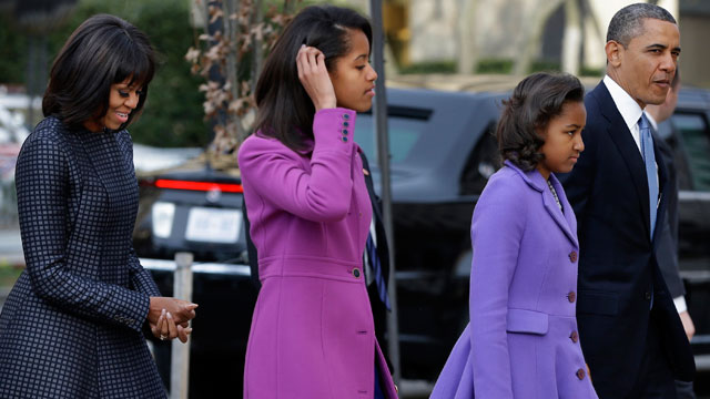 PHOTO: President Barack Obama, right, with daughters Sasha and Malia and first lady Michelle Obama arrive at St. John's Church for a church service during the 57th Presidential Inauguration in Washington, on Monday, Jan. 21, 2013.