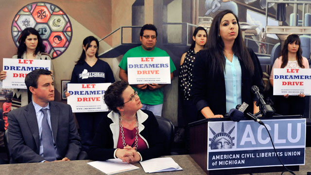 PHOTO: Plaintiff Leen Nour El-Zayat, at podium, a third-year pre-medical student at Wayne State University, speaks during a press conference at the ACLU of Michigan headquarters, Wednesday, Dec. 19, 2012 in Detroit.