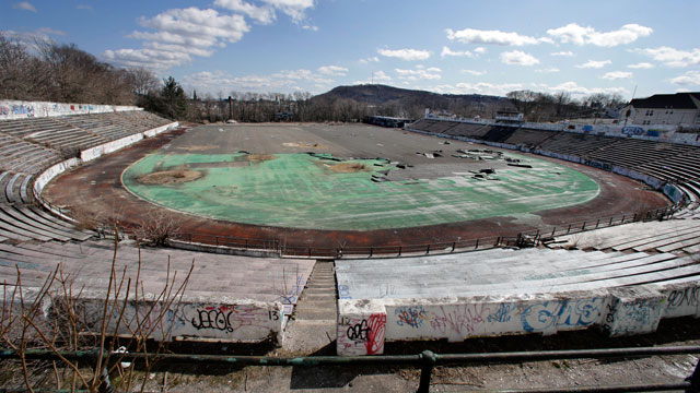 PHOTO: This Thursday, March 14, 2013 photo shows the deteriorating Hinchliffe Stadium, built as a public works project municipal stadium in 1932, in Paterson, N.J. It is now designated as a national landmark.