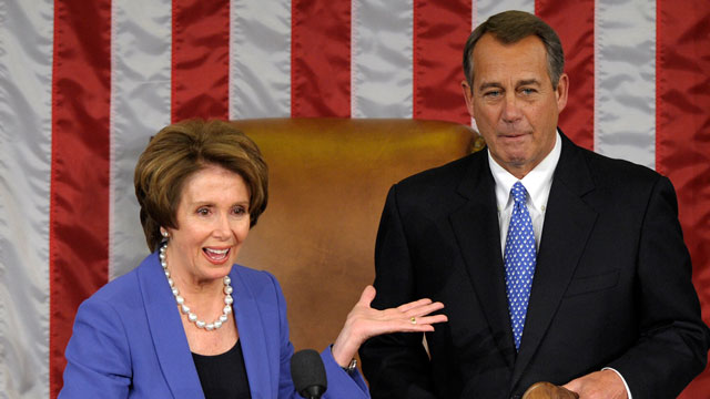 PHOTO:House Minority Leader Nancy Pelosi of Calif. gestures after passing the gavel to House Speaker John Boehner of Ohio, who was re-elected as House Speaker of the 113th Congress, Thursday, Jan. 3, 2013, on Capitol Hill in Washington.