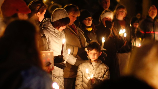 PHOTO:&nbsp;Mourners gather for a candlelight vigil at Ram's Pasture to remember shooting victims, Saturday, Dec. 15, 2012 in Newtown, Conn.