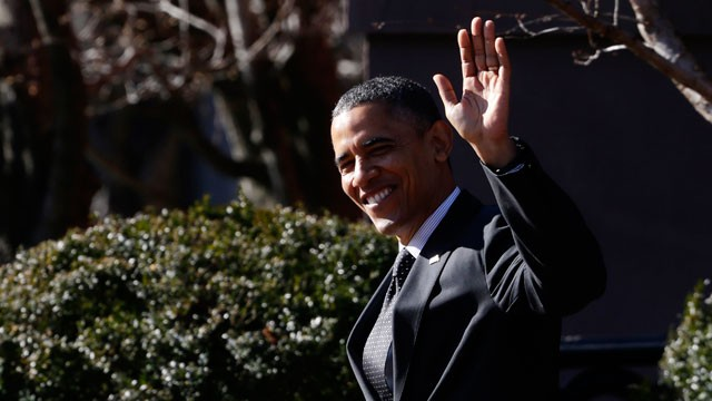 PHOTO:&nbsp;President Barack Obama waves to reporters as they shout questions to him regarding the fiscal cliff as he walks across Pennsylvania Avenue back to the White House in Washington, Thursday, Dec. 13, 2012