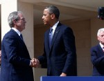 PHOTO:President Barack Obama shakes hands with former President George W. Bush after Obama spoke at the dedication of the George W. Bush presidential library on the campus of Southern Methodist University in Dallas, Thursday, April 25, 2013.