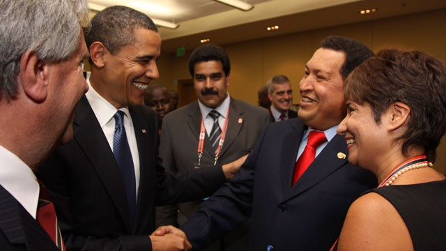 PHOTO: In this April 17, 2009 file photo, President Barack Obama, left, shakes hands with Venezuela's President Hugo Chavez before the opening session of the 5th Summit of the Americas in Port of Spain, Trinidad and Tobago.