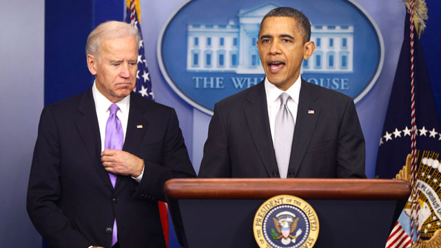 PHOTO: President Barack Obama stands with Vice President Joe Biden as he makes a statement in the Brady Press Briefing Room about policies he will pursue following the Newtown, Ct. shootings, Wednesday, Dec. 19, 2012, at the White House in Washington.