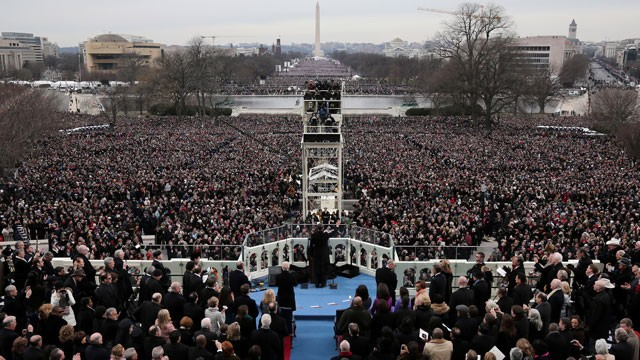 PHOTO: President Barack Obama gives his Inaugural address on the West Front of the Capitol in Washington, Monday, Jan. 21, 2013, during the ceremonial swearing-in ceremony during the 57th Presidential Inauguration.