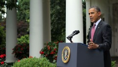 PHOTO: President Barack Obama delivers remarks about the Department of Homeland Security's announcement about deportation of undocumented immigrants in the Rose Garden at the White House June 15, 2012 in Washington, D.C.
