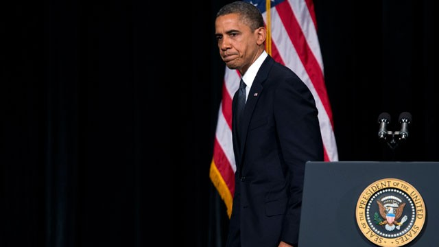 PHOTO:&nbsp;President Barack Obama walks off stage after delivering a speech at an interfaith vigil for the victims of the Sandy Hook Elementary School shooting on Sunday, Dec. 16, 2012 at Newtown High School in Newtown, Conn.